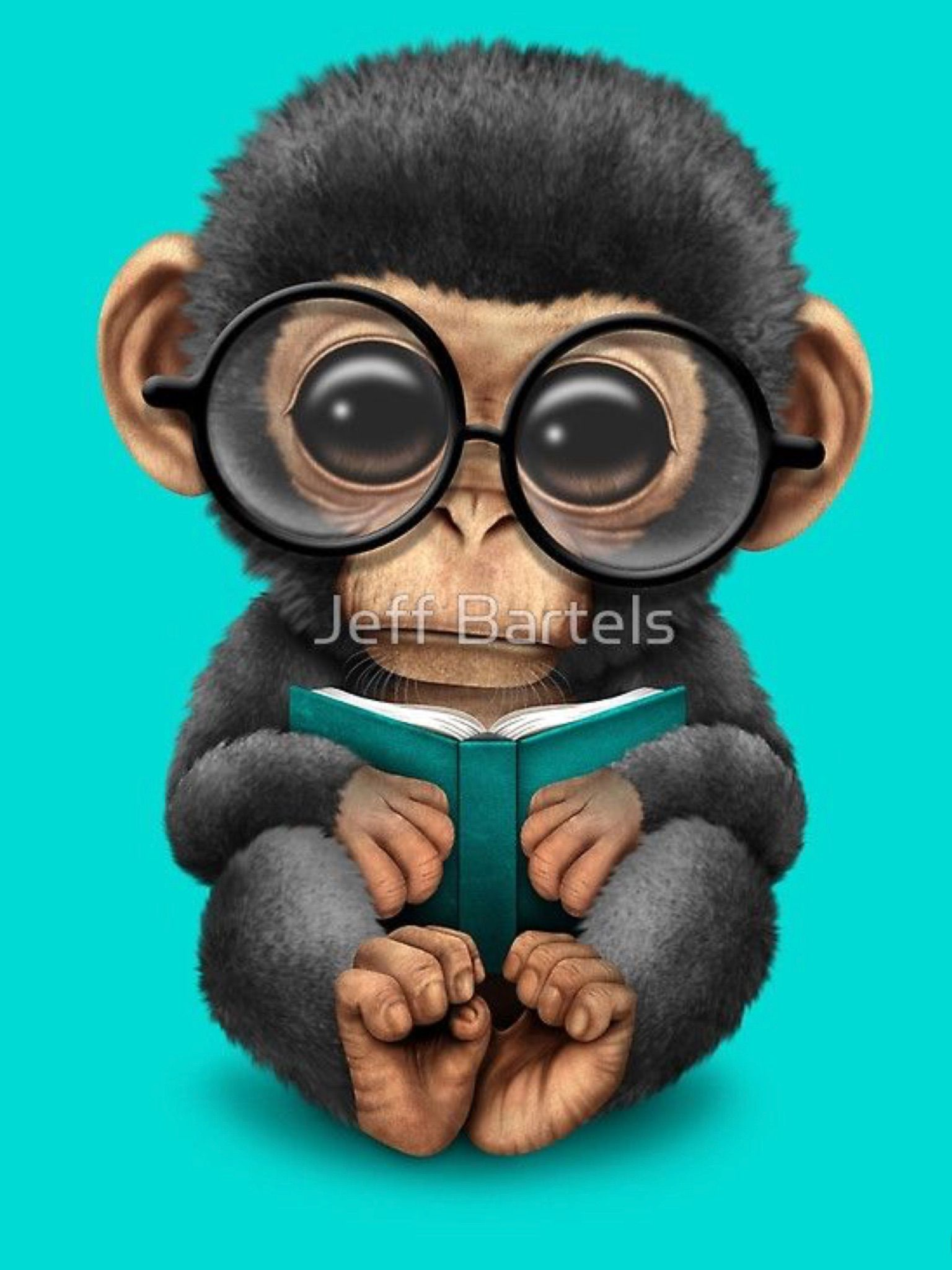 Baby Chimpanzee Reading A Book On Blue Cute Animal Drawings Cute Baby Animals Baby Chimpanzee