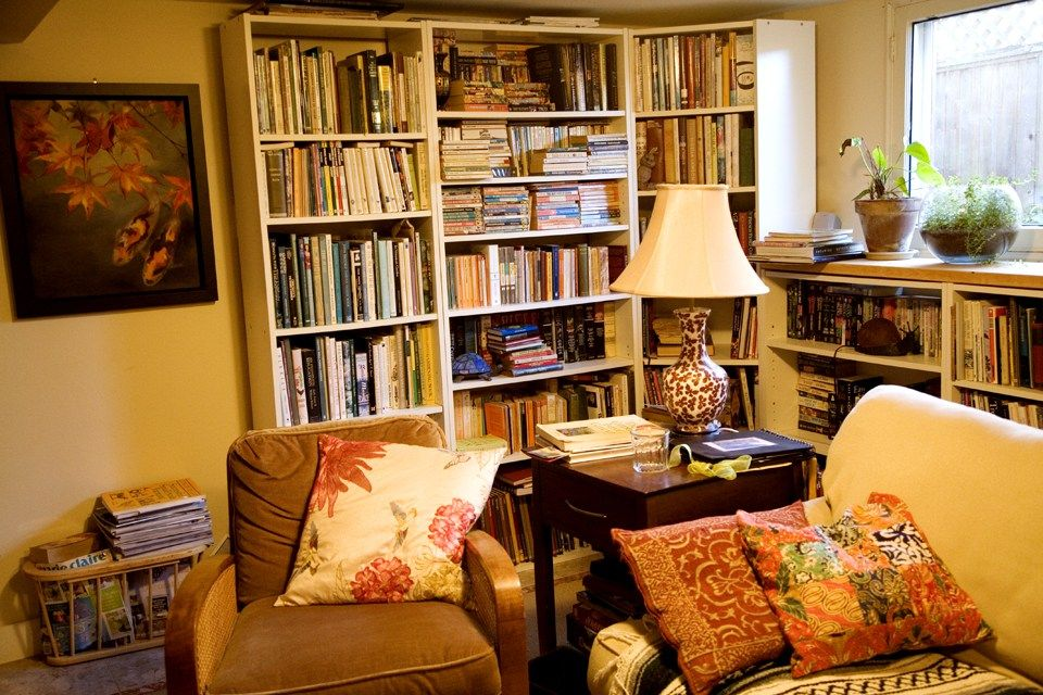A full home library of books, and more books