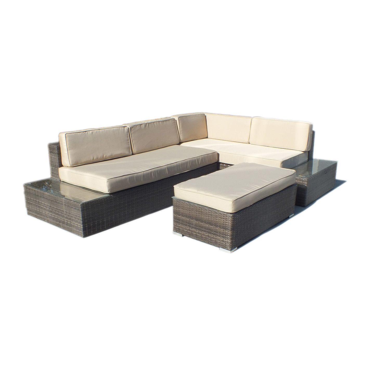 Manhattan Comfort Cambridge L Shaped Outdoor Sofa Patio Set Decoration