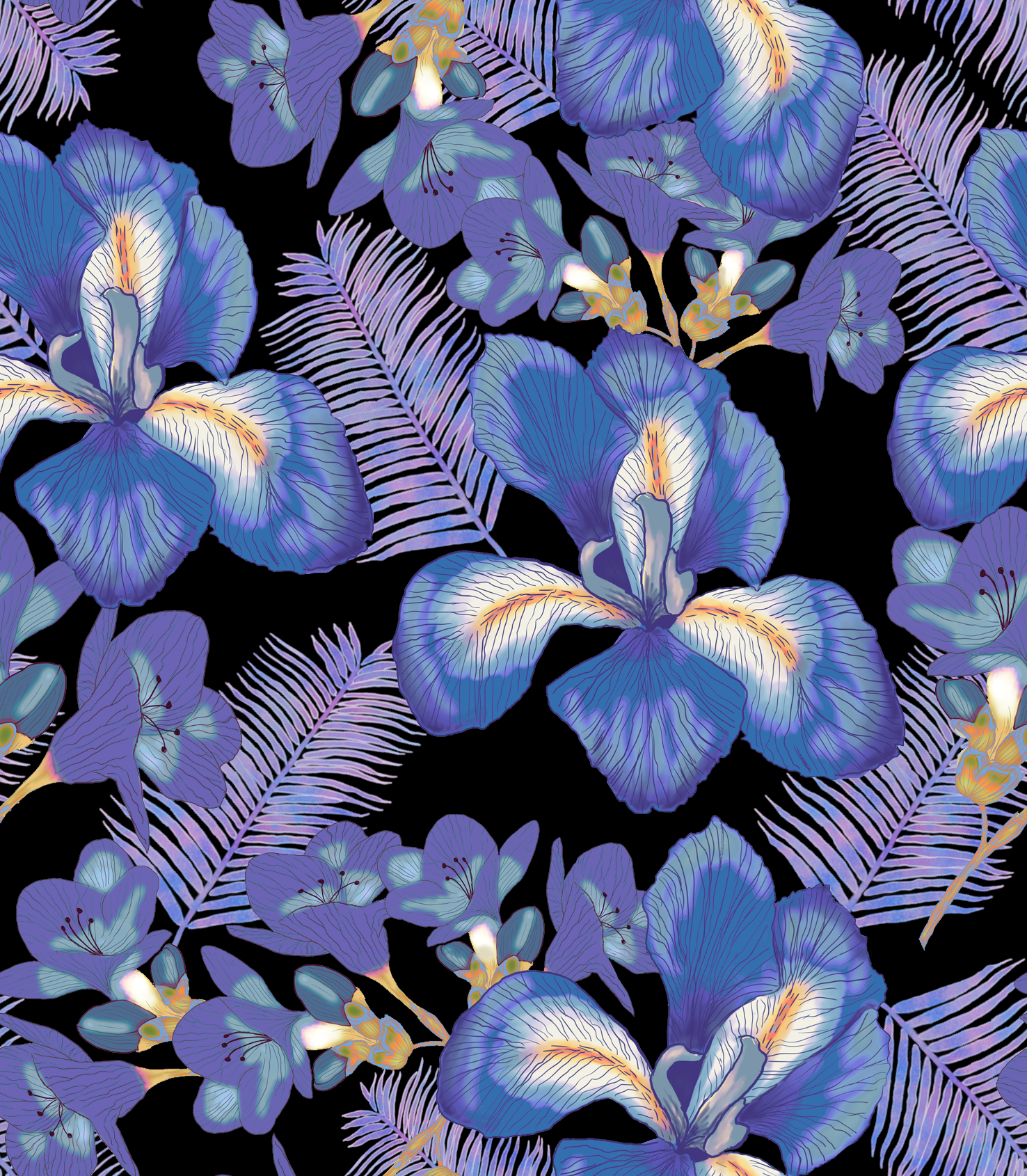 Colorful Fabrics Digitally Printed By Spoonflower Moody Iris In 2020 Purple Iris Flowers Iris Flowers Purple Iris