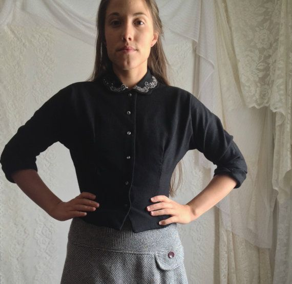 60s Black Wool Blouse Jacket // Vintage by DizzyDreamerVintage
