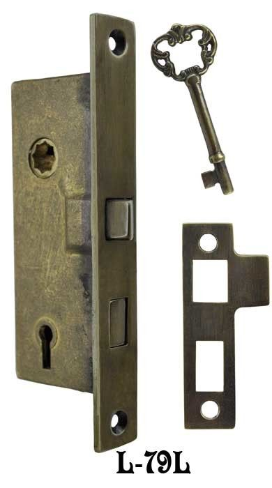 Recreated Skeleton Key Narrow 1 Backset Mortise Lock 2 1 4 Cc L 79l Vintage Hardware Mortise Lock Unlacquered Brass