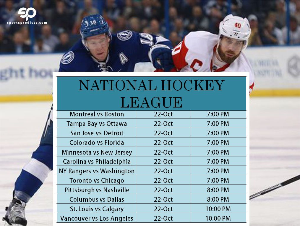 Nhl 2016 Table For Today S Match Schedule Hockey Hockey News