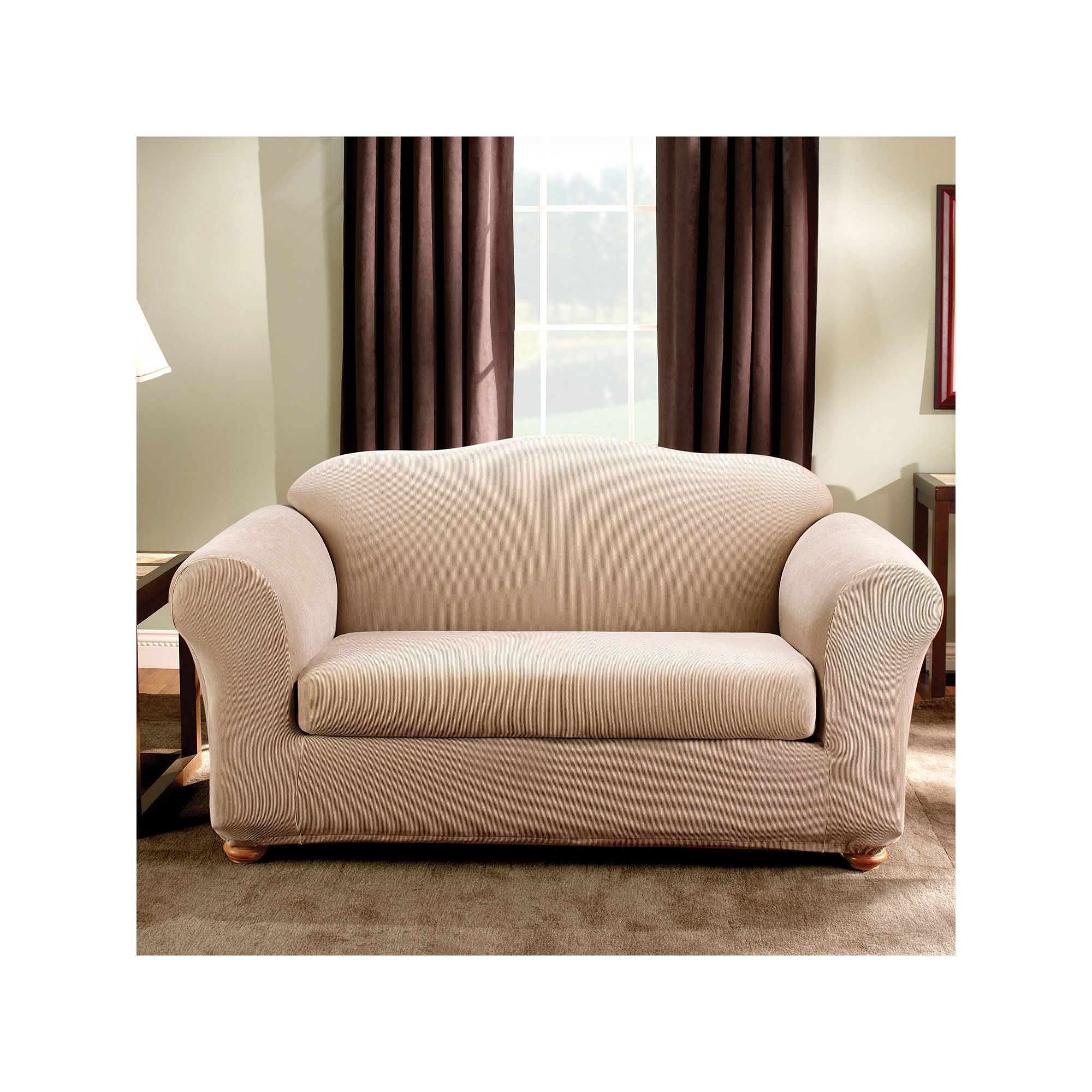 Sure Fit Striped Loveseat Slipcover Green Loveseats Products