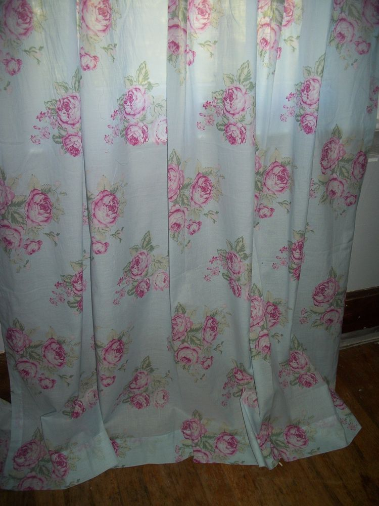 Rachel Ashwell Simply Shabby Chic Aque Blue Rose Long Curtain Panels Fabric SimplyShabbyChic CottageFarmhouse