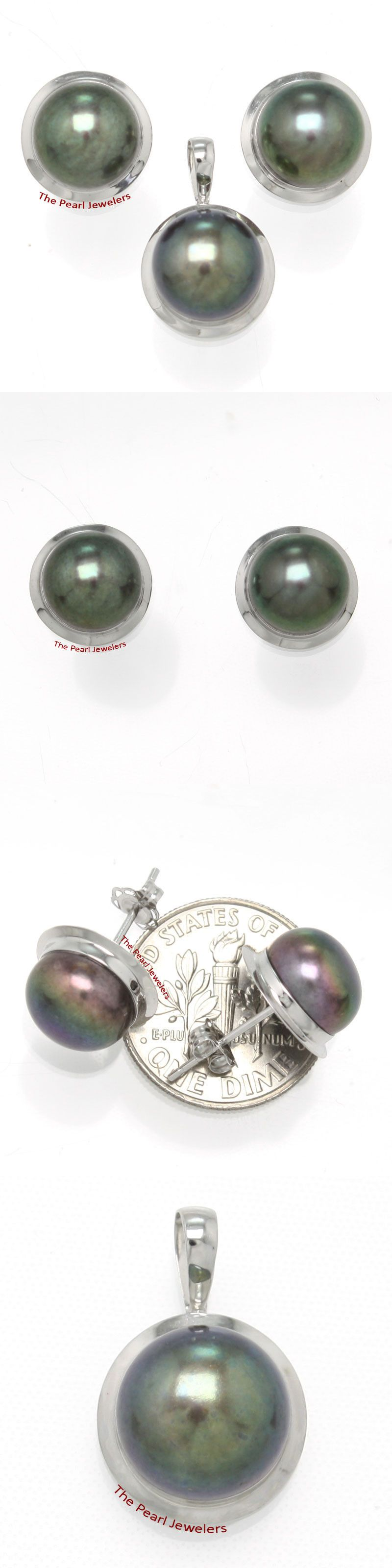 K white gold genuine mm black cultured pearl earring