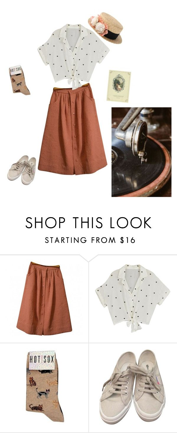 """""""Peach"""" by carillon ❤ liked on Polyvore featuring ASOS, HOT SOX and Superga"""