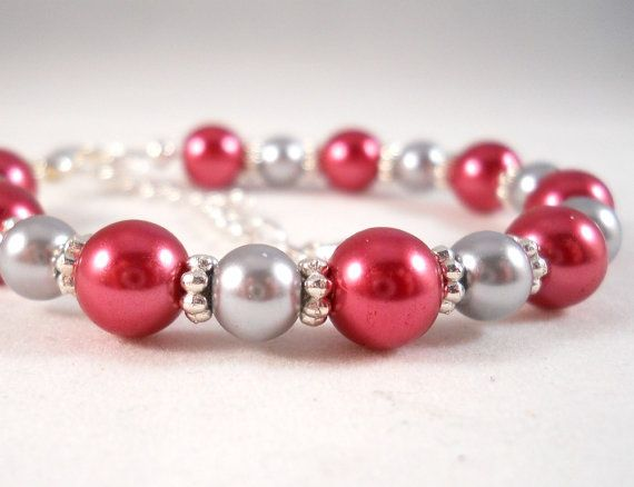 Bracelet for Little Girl Gray Grey and Pink by foreverandrea, $20.00