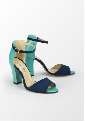 Clarette, sandale cu toc mediu, bleumarin-turcoaz