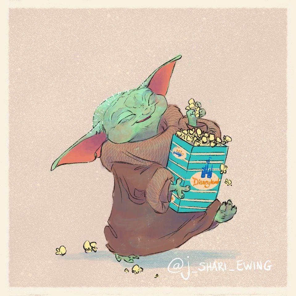 Baby Yoda Eating Popcorn Star Wars Fan Art Star Wars Drawings Yoda Art