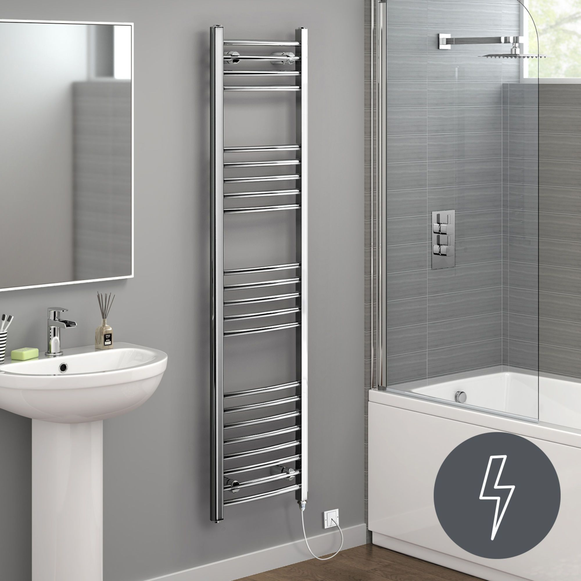 Badheizkörper Verchromt 1600x400mm Chrome Curved Rail Electric Towel Radiator Towel