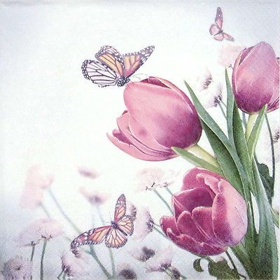 4 Single Paper Napkins for Decoupage Pink Tulip
