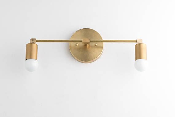 Vanity Lights - Brass Vanity Lighting - Mid Century Industrial - Modern  Wall Sconce - Bathroom - Vanity Lights - Brass Vanity Lighting - Mid Century Industrial
