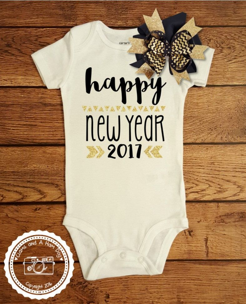 0ec23f3e2 New Years Eve Outfit- Baby Infant Toddler Kids Shirt- Happy New Year 2017  Shirt- Celebrate New Year Black and Gold Silver Fancy Shirt- #058 by ...