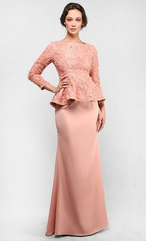 Photo of The Lace Peplum Kurung in Coral