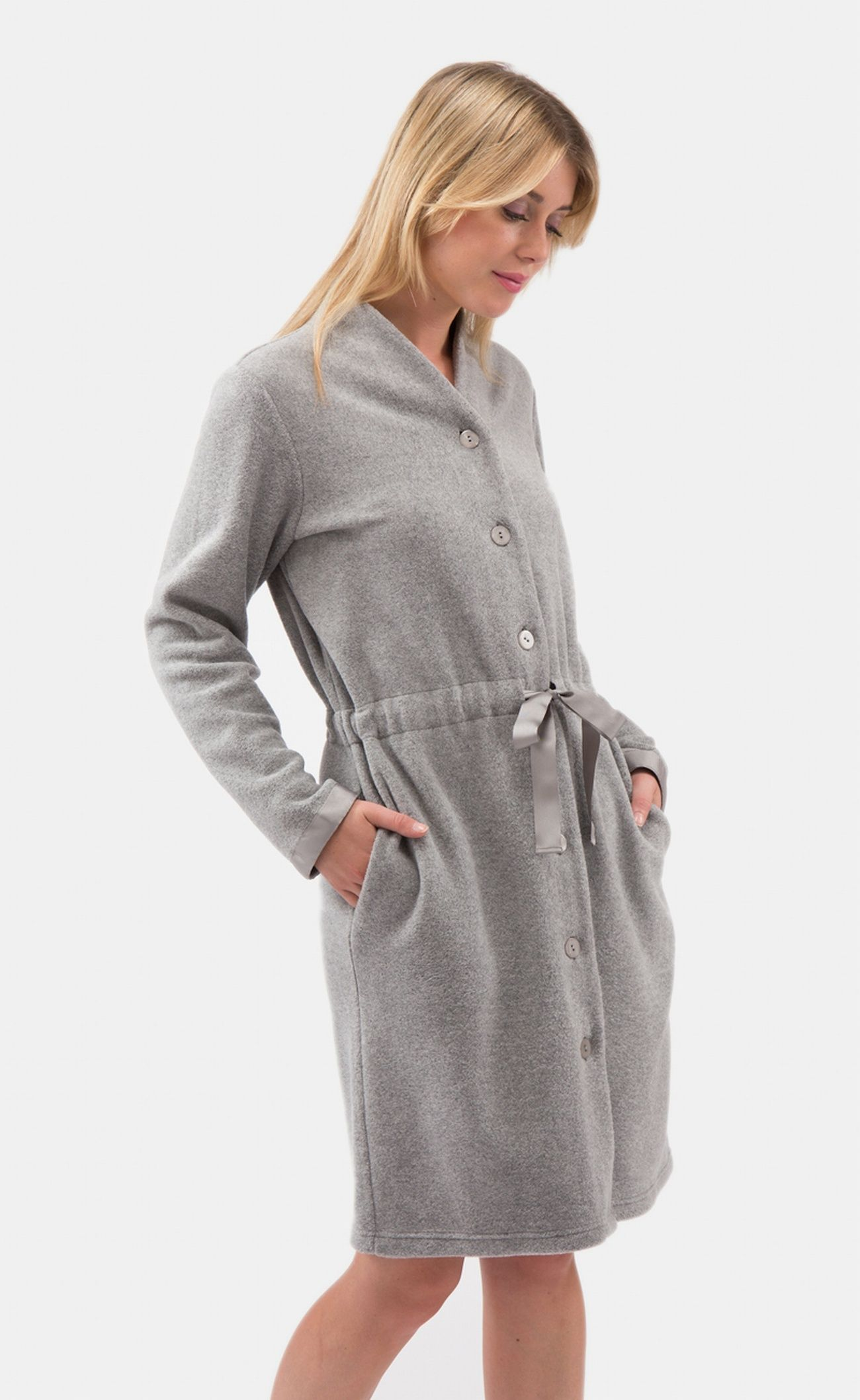 309373706f Short Length Button Down Dressing Gown with Satin Gathered Belt ...