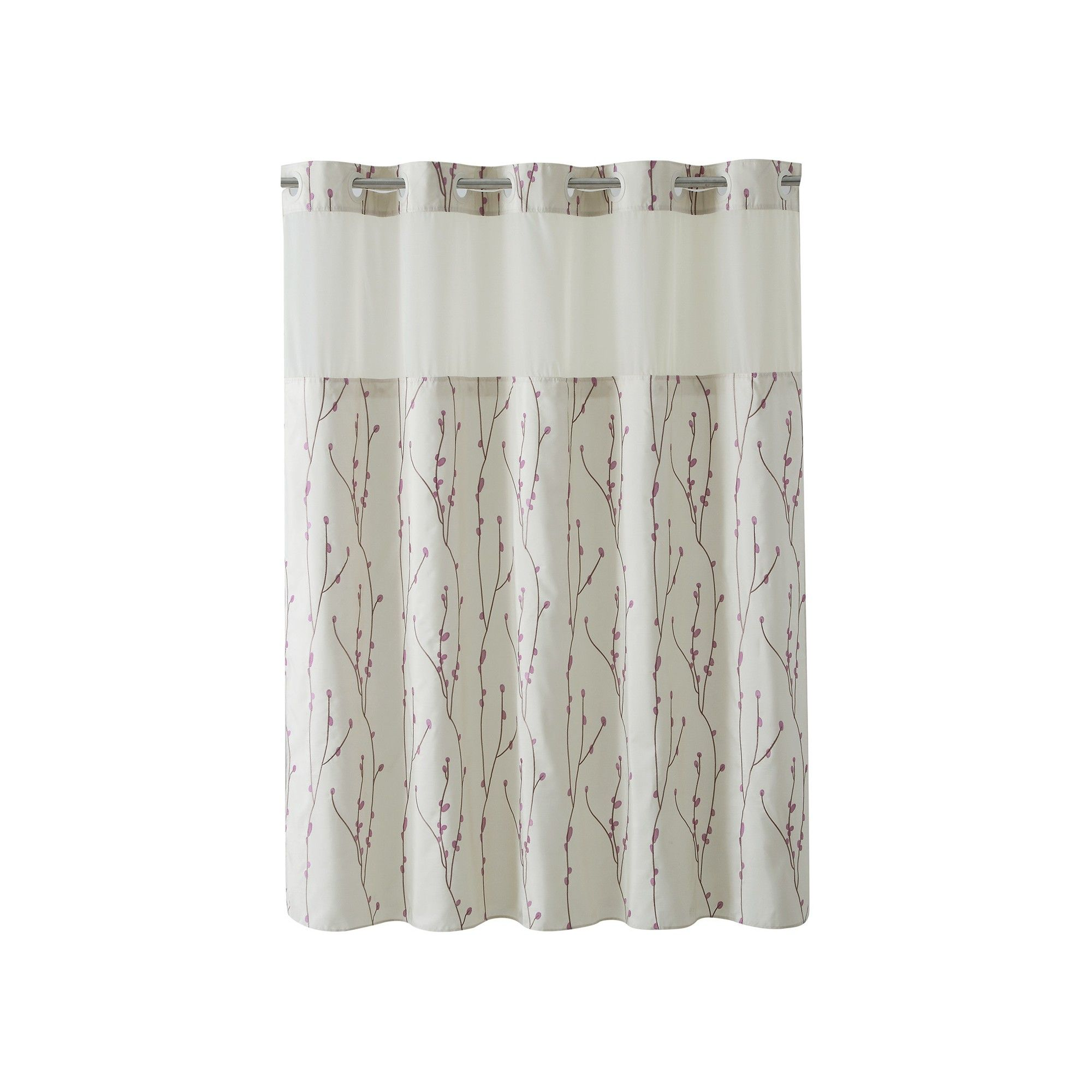 Hookless 71 X74 Cherry Bloom Shower Curtain With Liner Taupe