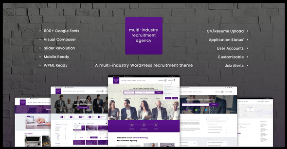 Multi-Purpose Recruitment Agency - Responsive WordPress Theme ...