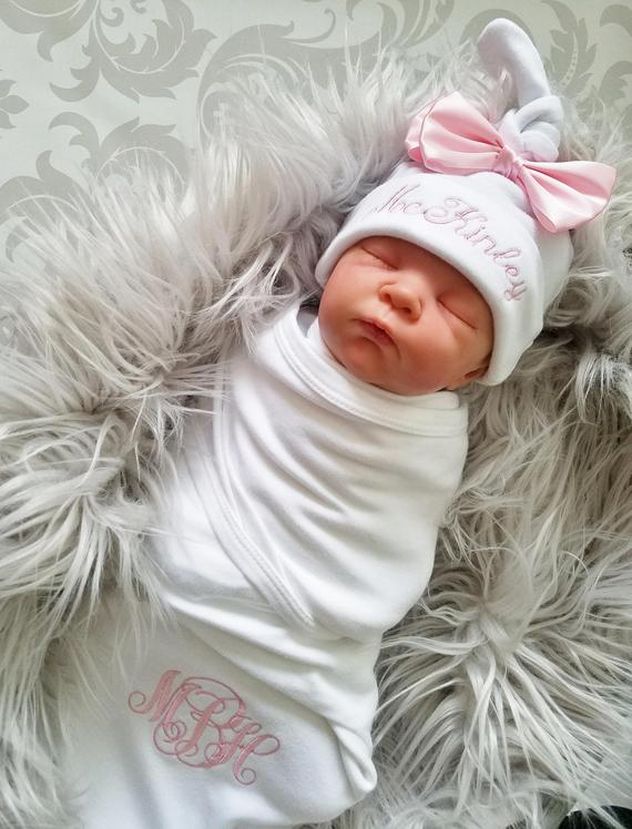 855cfbbd74497 Baby Girl Swaddle Baby Girl Hospital Outfit Newborn Baby Girl Personalized  Baby Gift