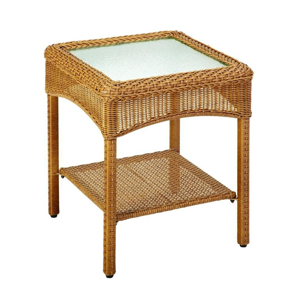 Martha Stewart Living Charlottetown Natural All Weather Wicker Patio Accent  Table 65 909556