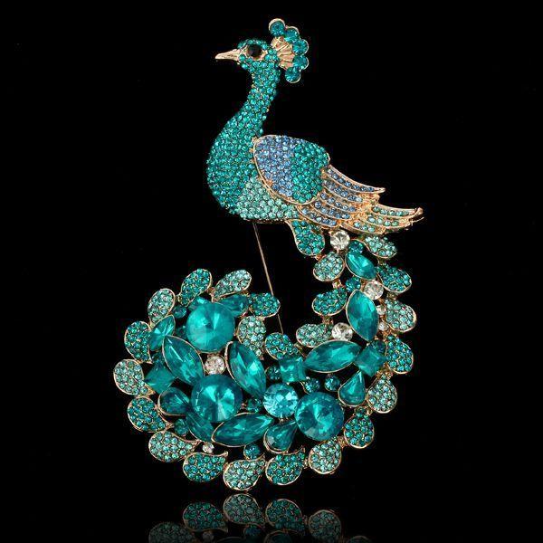 874ffcee9ba Blue Zircon Gemstone Peacock Aquamarine Rhinestone Brooch Pin Swarovski  Crystal