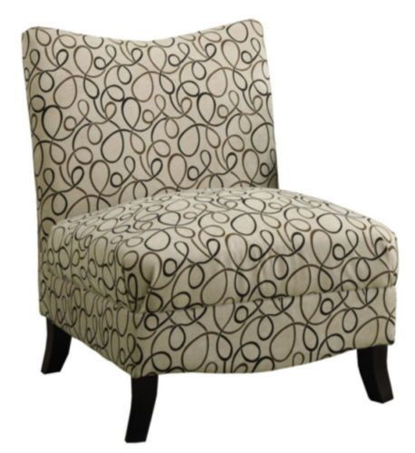 Accent Chair With Swirl Bottom: Contemporary Accent Chair Plush Back Living Room Furniture
