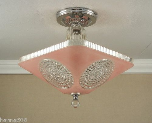 Vintage 1940s antique pink art deco atomic retro ceiling light lamp vintage 1940s antique pink art deco atomic retro ceiling light lamp fixture ebay mozeypictures Gallery