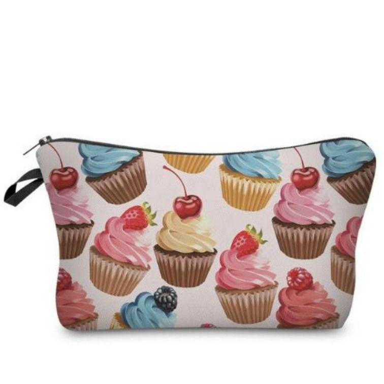 cece211ada0 Make-up tasje / Make-up bag met cupcake print! #makeupbag ...