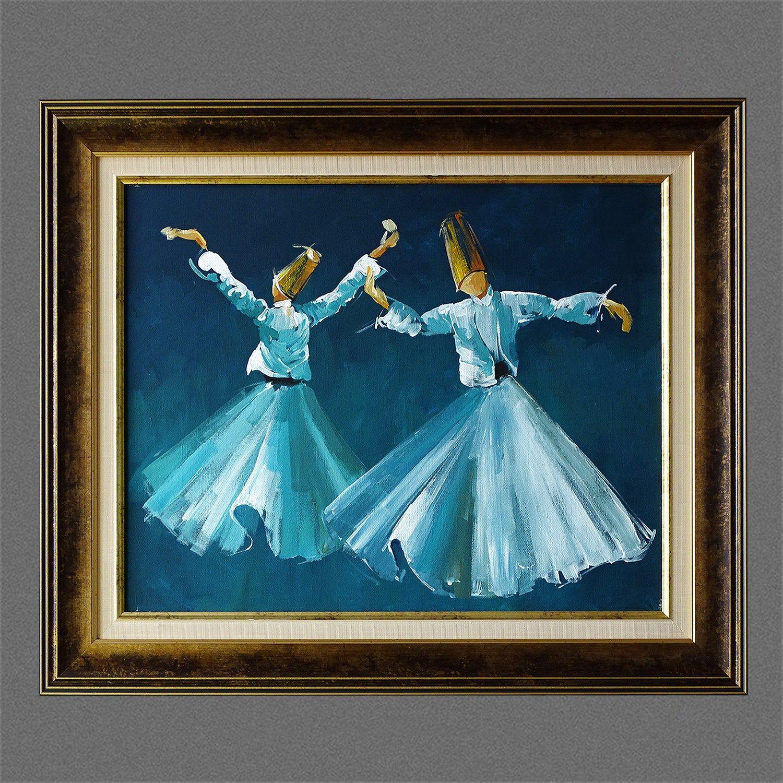 Whirling Dervish Art Original Canvas Art Blue Islamic Art Oil Painting Framed Large Wall Art Islamic Canva Original Canvas Art Islamic Art Art Painting Oil