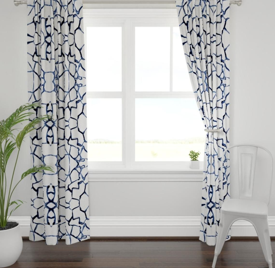 Navy White Curtains Brush Paint Stroke Curtains Blue White