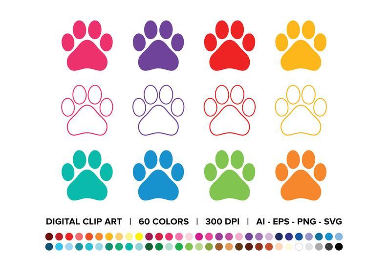 Dog Paw Print Clip Art Set Png Svg Vector Solid Or Outline Etsy Paw Print Clip Art Dog Paw Print Clip Art