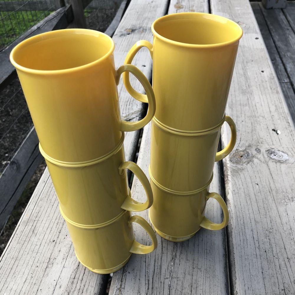 Vintage Plastic Footed Yellow Gold Coffee Tea Mugs Set Of
