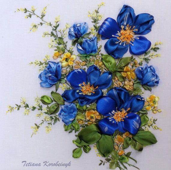 "picture ""Flower arrangement."", Silk ribbon embroidery"