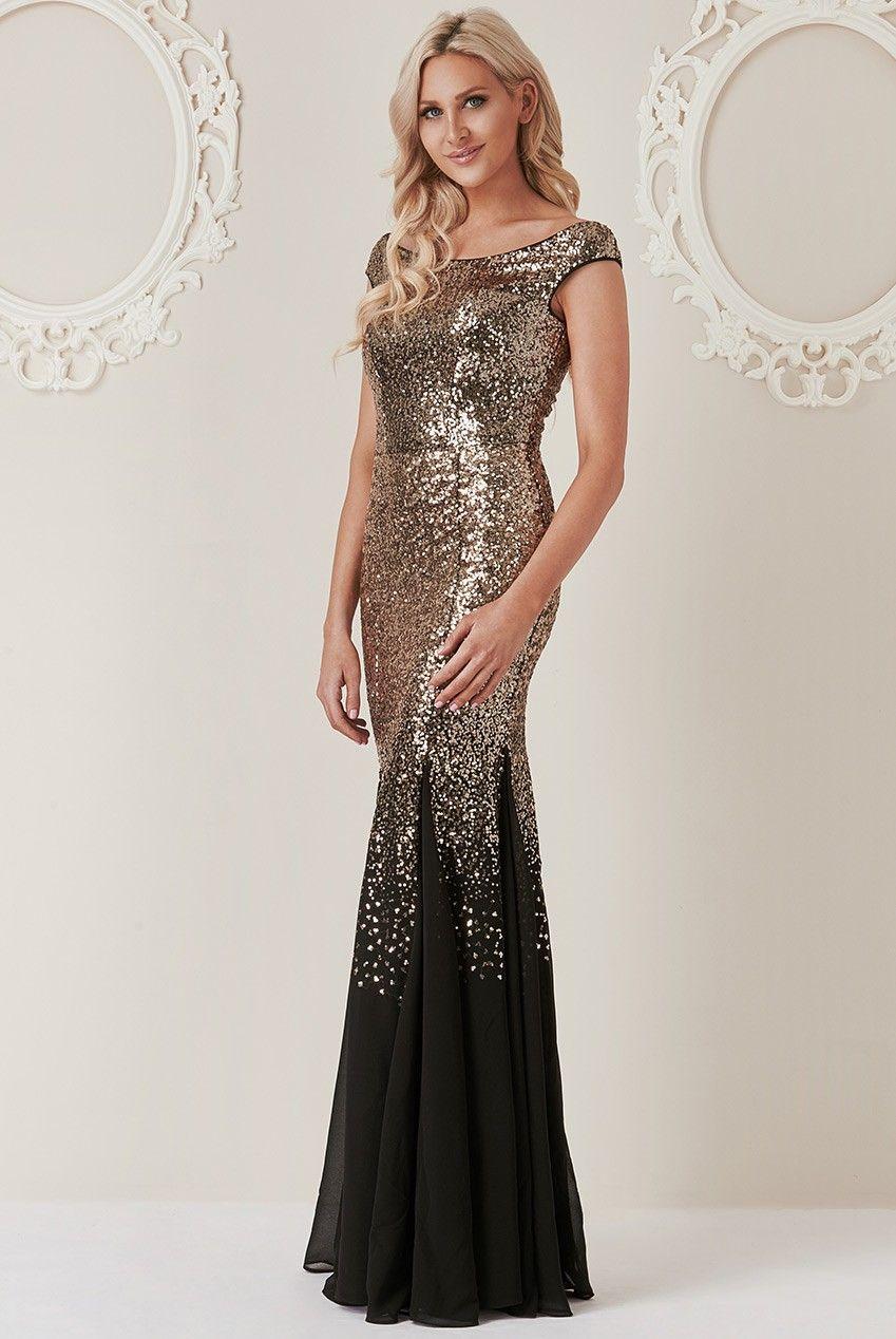 0fe44cceb9 Stephanie Pratt – Sequin and Chiffon Maxi Dress - Blackgold - Front - DR1168