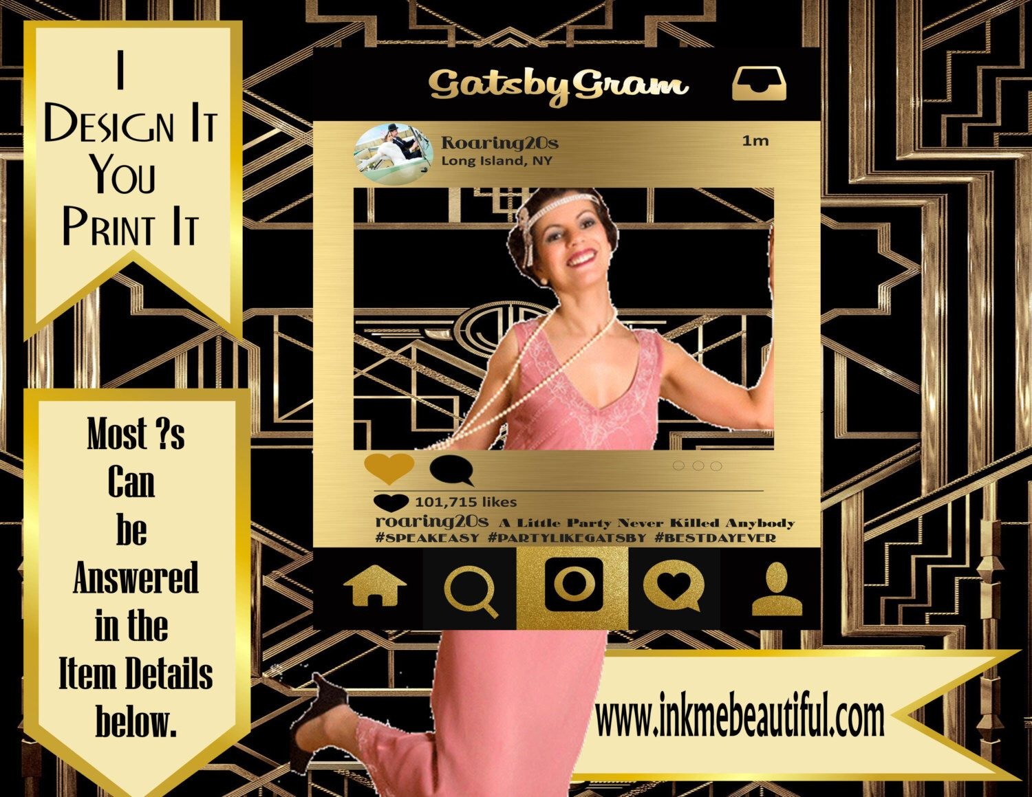 DIGITAL FILE**Photo frame Prop 24X36 or 20x30, Gatsby party decoration*Roaring 20s Art deco*Wedding photobooth sign, Photobooth Prop by inkmebeautiful on Etsy https://www.etsy.com/listing/235440808/digital-filephoto-frame-prop-24x36-or