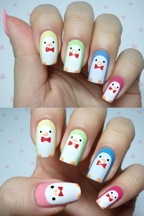 Cute little tuxedo sam looking penguin nails! =)   Love Things with ...
