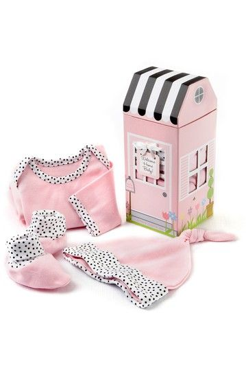 Welcome Home Baby Pink Three Piece Layette Set In Keepsake Gift