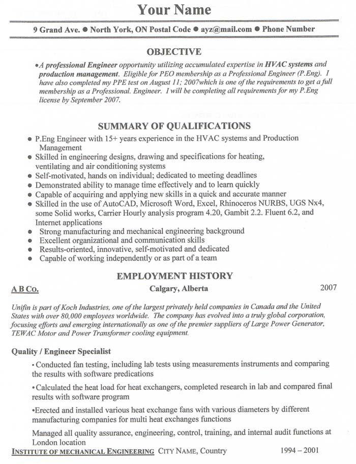 Resume Cv Example Canada