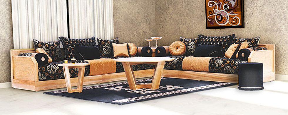 salon marocain moderne noir et dore