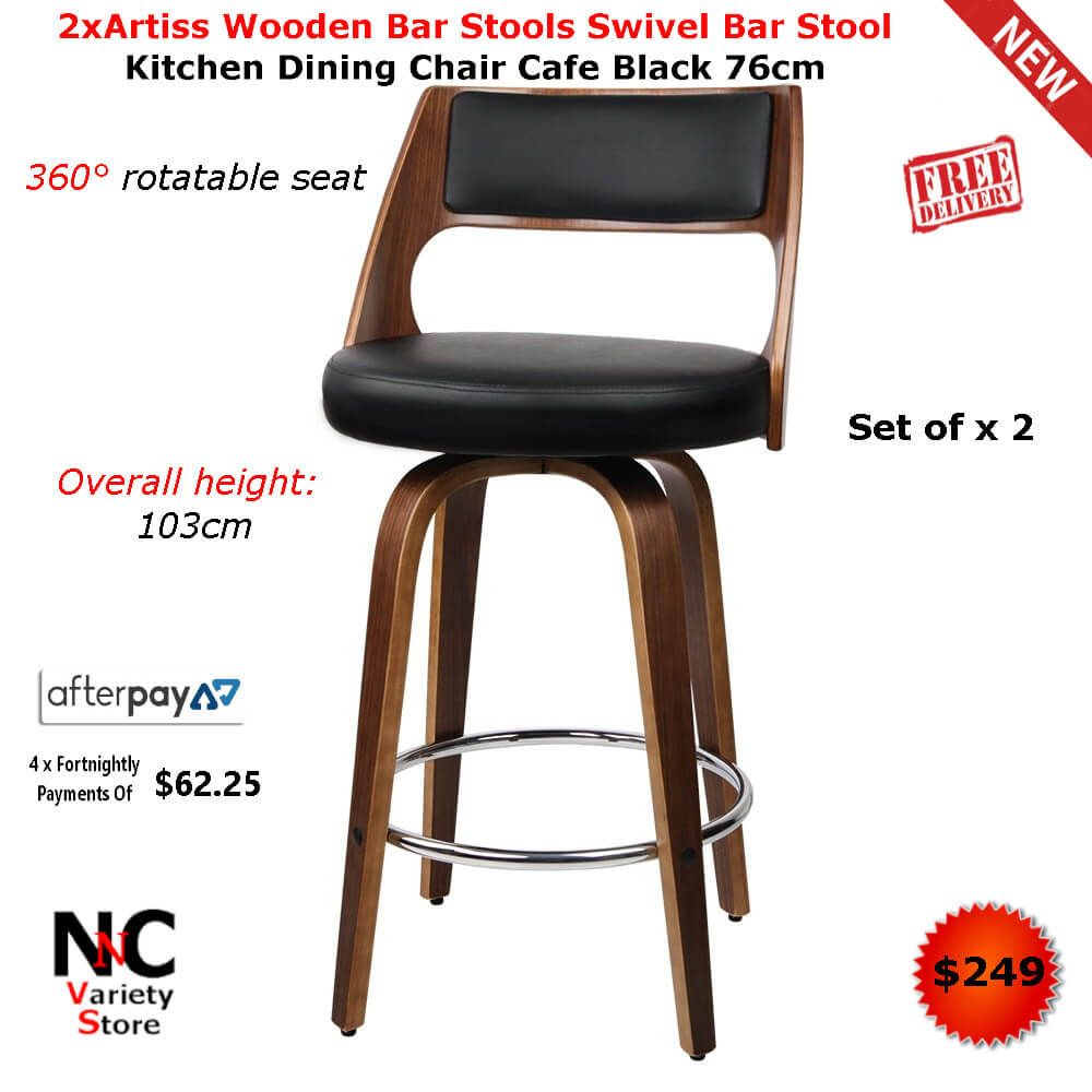 2xartiss Wooden Bar Stools Swivel Bar Stool Kitchen Dining Chair Cafe Black 76cm With Images Bar Stools Wooden Bar Stools Kitchen Bar Stools