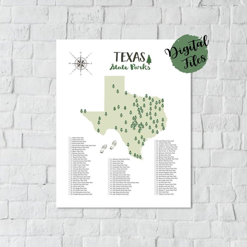 Printable Map Of Texas PRINTABLE Texas State Parks Map State Parks Of Texas Map Texas