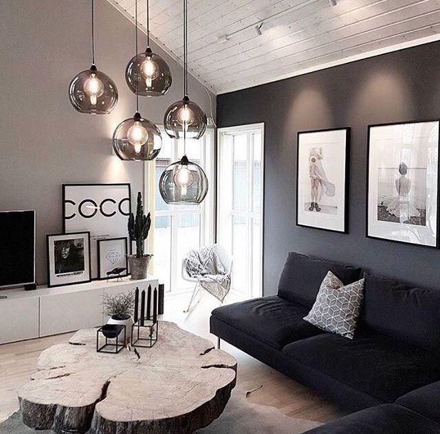 Photo of chic schwarz und weiß Wohnzimmer Interieur, moderne Wohnzimmer Dekor, Wohnung d… – Blog