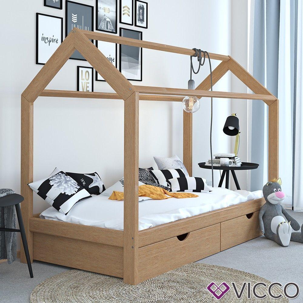 Vitalispa Kinderbett Hausbett Natur 90x200 Cm Schubladen Bett Holz