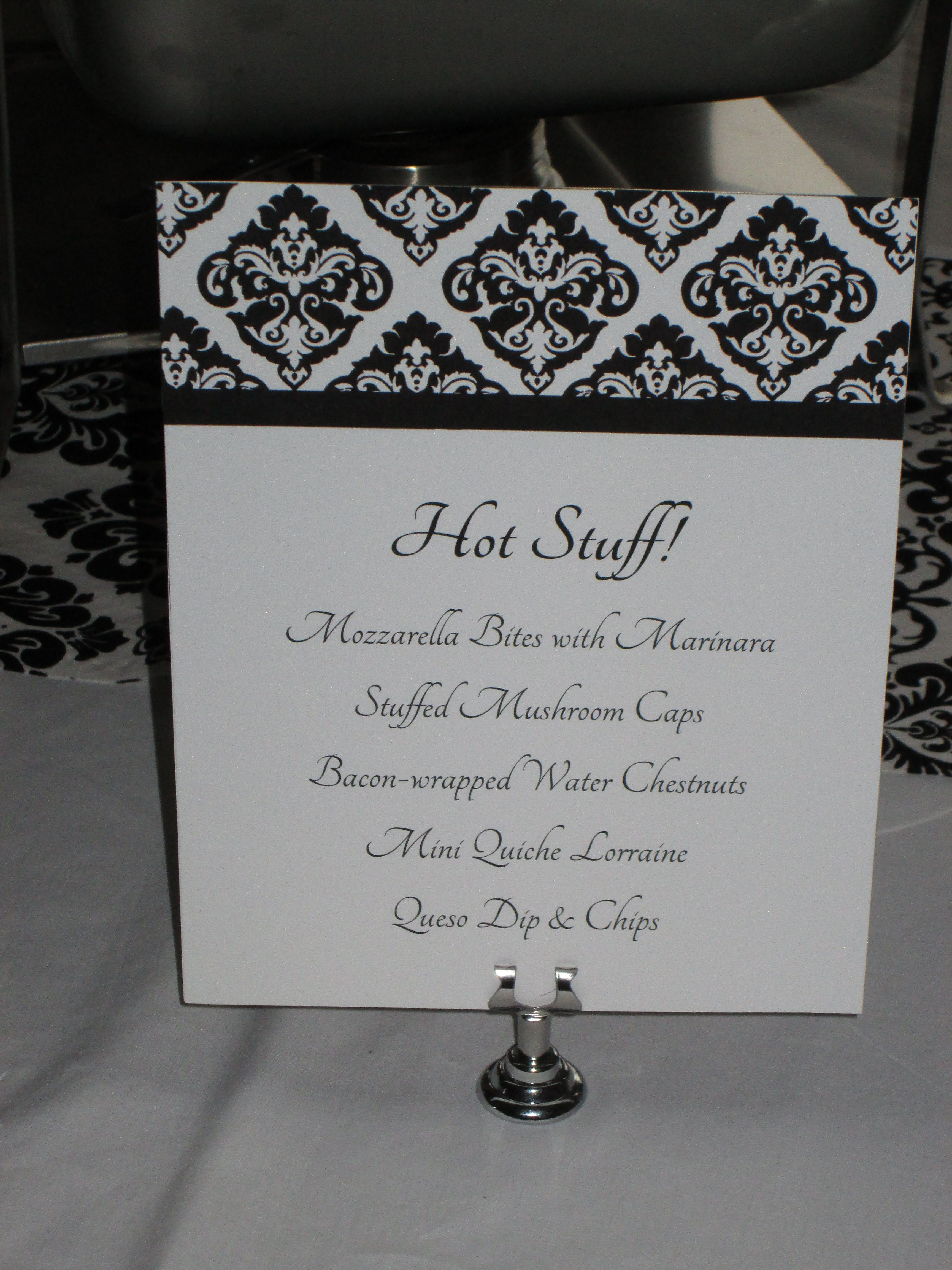 Hot Appetizer Menu List From My 40th Birthday Party Elegant