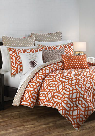 With This Lattice Inspired Bright Orange Khaki And White Comforter Set You Can Bring A New Modern Touch To Comforter Sets Master Bedrooms Decor Comforters