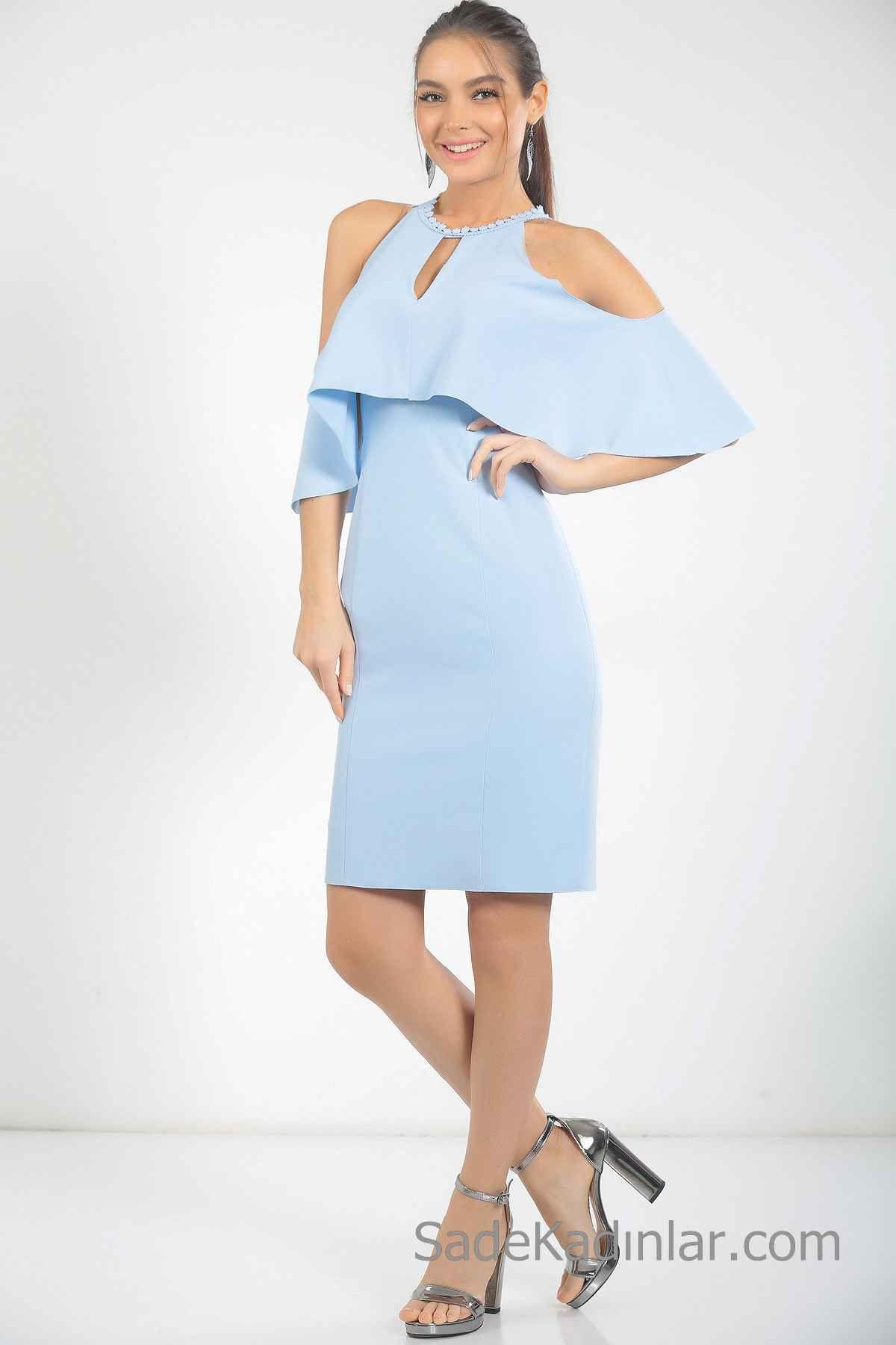 2020 Bebe Mavisi Elbise Modelleri Kisa Omzu Acik Dusuk Kol Volanli Yaka Elbise Modelleri Elbise Mini Elbiseler