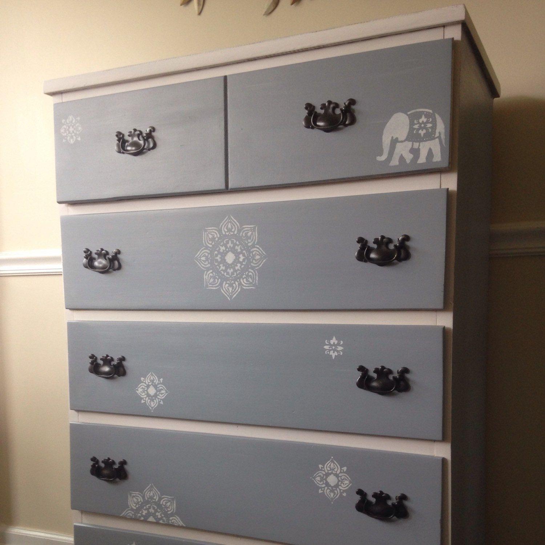 Reserved For Haley Fowlergrey And White 5 Drawer Gender Etsy Wood Dresser Diy Dresser Dresser Design [ 1500 x 1500 Pixel ]