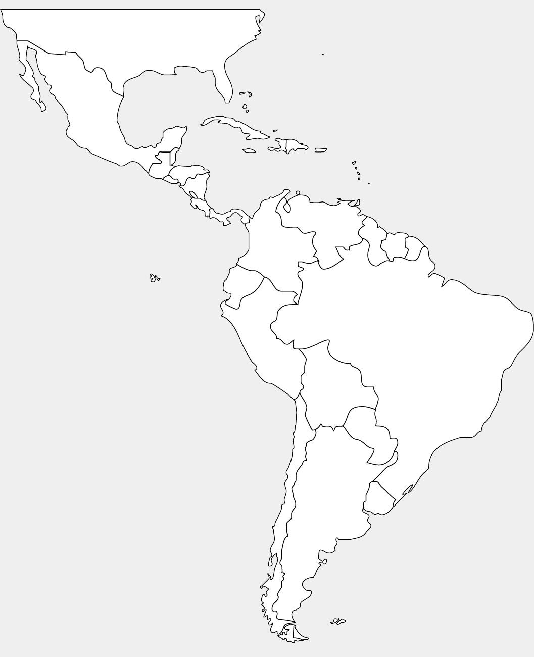 Blank Map Of North And South America