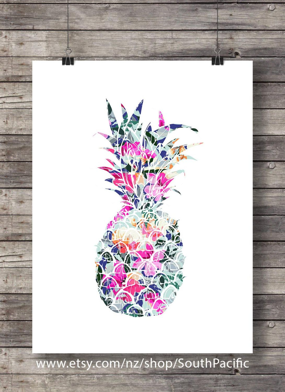 Printable art tropical pineapple floral pineapple art print