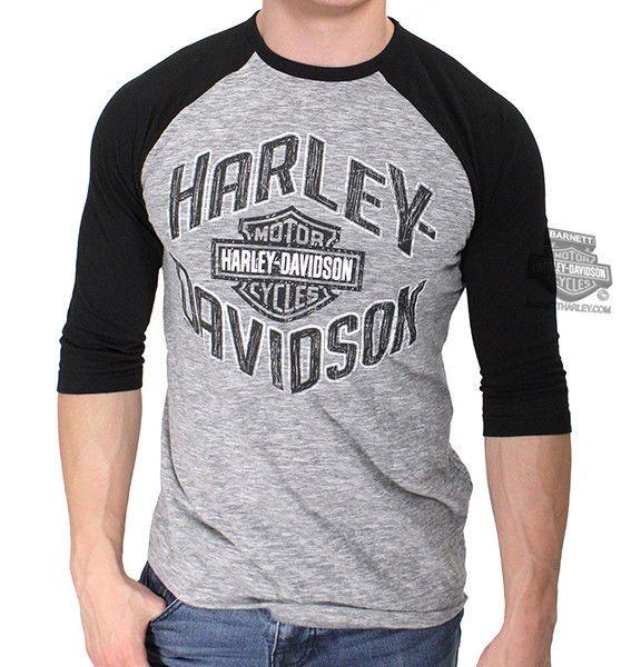 Harley Davidson Mens Wise Biker B Amp S Raglan Hyper Slub Grey 3 X2f 4 Sleeve T Shirt Clothing Shoes Amp Accessories Men 39 S Ropa Chalecos Hombrecillo
